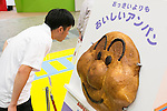 A visitor looks at a huge Anpanman character shaped bread on display at the International Tokyo Toy Show 2016 in Tokyo Big Sight on June 9, 2016, Tokyo, Japan. The annual exhibition showcases some 35,000 toys from 160 toy makers from Japan and overseas. The show runs to June 12th and organisers expect to attract 160,000 visitors. (Photo by Rodrigo Reyes Marin/AFLO)