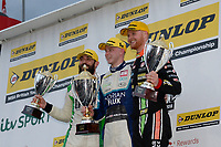 Race Three Podium Celebrations,  during BTCC Race 3 Podium as part of the Dunlop MSA British Touring Car Championship - Brands Hatch 2018 at Brands Hatch, Fawkham, Longfield, Kent, United Kingdom. September 30 2018. World Copyright Peter Taylor/PSP. Copy of publication required for printed pictures.