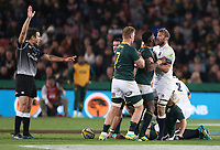 Siya Kolisi (captain) of South Africa and Chris Robshaw of England during the 2018 Castle Lager Incoming Series 1st Test match between South Africa and England at Emirates Airline Park,<br /> Johannesburg.South Africa. 09,06,2018 Photo by (Steve Haag Sports)