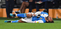 Blackburn Rovers' Bradley Dack winces in pain after receiving a hard tackle<br /> <br /> Photographer Dave Howarth/CameraSport<br /> <br /> The Premier League - Hull City v Blackburn Rovers - Tuesday August 20th 2019  - KCOM Stadium - Hull<br /> <br /> World Copyright © 2019 CameraSport. All rights reserved. 43 Linden Ave. Countesthorpe. Leicester. England. LE8 5PG - Tel: +44 (0) 116 277 4147 - admin@camerasport.com - www.camerasport.com