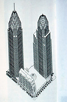Helmut Jahn: One Liberty Place. Projected complete complex. (Architecture, May 1988, p. 130)