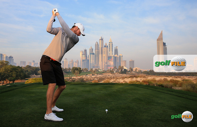 Chris Wood (ENG) during the Pro-Am at the 2016 Omega Dubai Desert Classic, played on the Emirates Golf Club, Dubai, United Arab Emirates.  03/02/2016. Picture: Golffile | David Lloyd<br /> <br /> All photos usage must carry mandatory copyright credit (&copy; Golffile | David Lloyd)