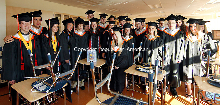 Watertown, CT-18, June 2010-061810CM01  Watertown graduates, including the class officers and honor society members, pose for a photo before heading into commencement exercises Friday night at Watertown High School.   --Christopher Massa Republican-American