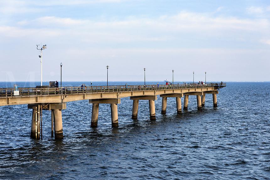 Fishing pier at the Chesapeake Bay Bridge, Virginia, USA