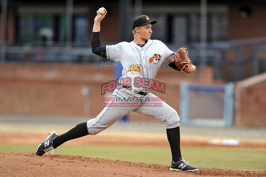 West Virginia Power starting pitcher Dovydas Neverauskas #45 delivers a pitch during game one of a double header against the Asheville Tourists at McCormick Field on April 8, 2014 in Asheville, North Carolina. The Power defeated the Tourists 6-5. (Tony Farlow/Four Seam Images)