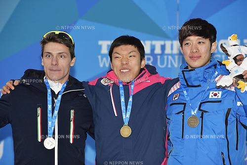 (L-R) Enzi Mirko Giacomo (ITA), Tsubasa Hasegawa (JPN), Kim Sung Gyu (KOR), DECEMBER 14, 2013 - Speed Skating : the 26th Winter Universiade Trentino 2013 Men's 500m at Baselga di Pine in Trentino, Italy. (Photo by AFLO SPORT)
