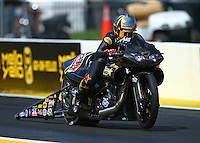 Mar 20, 2016; Gainesville, FL, USA; NHRA pro stock motorcycle rider Angelle Sampey during the Gatornationals at Auto Plus Raceway at Gainesville. Mandatory Credit: Mark J. Rebilas-USA TODAY Sports