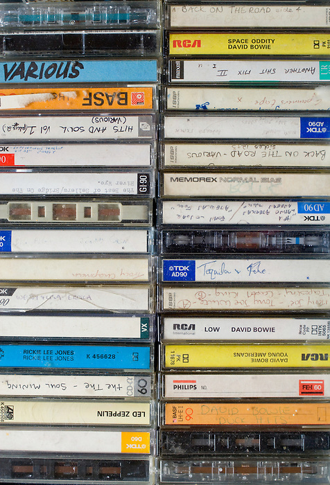 Stacks of old cassette tapes