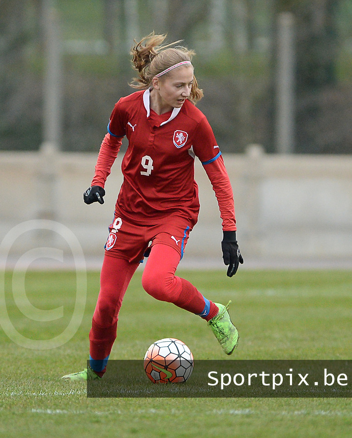 20160319 - FLERS , FRANCE : Czech Michela Dubcova pictured during the soccer match between the women under 17 teams of  France and the Czech Republic , on the first matchday in group 3 of the UEFA Women Under17 Elite rounds at Stade du Haze in Flers , France . Saturday 19th March 2016 . PHOTO DAVID CATRY