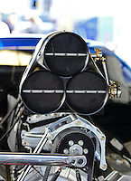 Sept. 28, 2012; Madison, IL, USA: Engine on the car of NHRA pro mod driver Mike Janis during qualifying for the Midwest Nationals at Gateway Motorsports Park. Mandatory Credit: Mark J. Rebilas-