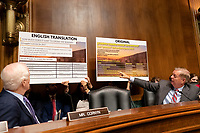 United States Senator Lindsey Graham (Republican of South Carolina) points out information as he speaks at a hearing on the crisis at the Southwest Border where Acting Secretary of the United States Department of Homeland Security Kevin McAleenan testified before the U.S. Senate Judiciary Committee on Capitol Hill in Washington D.C., U.S. on June 11, 2019. Photo Credit: Stefani Reynolds/CNP/AdMedia