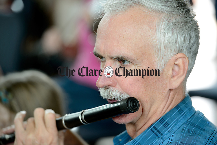 A musician taking part in the Frank Custy session in progress on Thursday at the Holy Family National School during Fleadh Cheoil na hEireann in Ennis. Photograph by John Kelly.