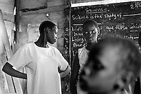 Teenagers in school in an orphanage in Kampala, Uganda on April 23, 2001. More than 13 million African children have been orphaned by the the AIDS pandemic. Worldwide, more than 20 million people have died since the first cases of AIDS were identified in 1981.