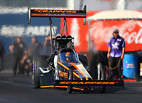 Feb 1, 2018; Chandler, AZ, USA; NHRA top fuel driver Mike Salinas during Nitro Spring Training pre season testing at Wild Horse Pass Motorsports Park. Mandatory Credit: Mark J. Rebilas-USA TODAY Sports