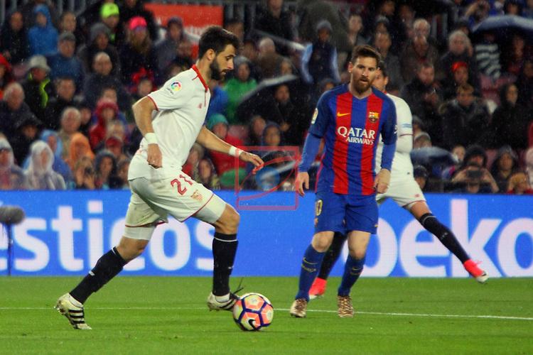 League Santander 2016/2017. Game: 30.<br /> FC Barcelona vs Sevilla FC: 3-0.<br /> Nico Pareja vs Lionel Messi.