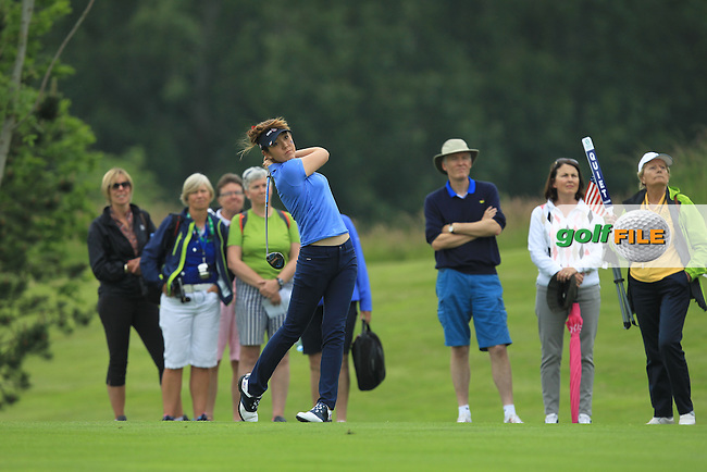 Hannah O'Sullivan on the 17th during the Friday morning Foursomes of the 2016 Curtis Cup at Dun Laoghaire Golf Club on Friday 10th June 2016.<br /> Picture:  Golffile | Thos Caffrey