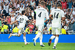 Real Madrid Francisco Alarcon 'Isco', Sergio Ramos and Carlos Henrique Casemiro celebrating a goal during UEFA Champions League match between Real Madrid and A.S.Roma at Santiago Bernabeu Stadium in Madrid, Spain. September 19, 2018. (ALTERPHOTOS/Borja B.Hojas)