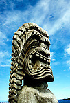 HI: Hawaii; Big Island, Place of Refuge National Park; Pu'uhonua o Honaunau National Historical Park; ki'i wooden image.Photos by Lee Foster, lee@fostertravel.com, www.fostertravel.com, (510) 549-2202.Image: hicity404