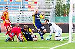 S&ouml;dert&auml;lje 2014-05-31 Fotboll Superettan Syrianska FC - &Auml;ngelholms FF :  <br /> &Auml;ngelholms Jakob Augustsson tar sig f&ouml;r huvudet efter en m&aring;lchans i slutet som r&auml;ddades av Syrianskas m&aring;lvakt Dejan Garaca <br /> (Foto: Kenta J&ouml;nsson) Nyckelord:  Syrianska SFC S&ouml;dert&auml;lje Fotbollsarena &Auml;ngelholm &Auml;FF depp besviken besvikelse sorg ledsen deppig nedst&auml;md uppgiven sad disappointment disappointed dejected