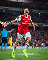 Dani Ceballos (on loan from Real Madrid) of Arsenal celebrates scoring a goal to make it 4-0 during the UEFA Europa League match between Arsenal and Standard Liege at the Emirates Stadium, London, England on 3 October 2019. Photo by Andrew Aleks.
