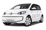 Stock pictures of low aggressive front three quarter view of a 2014 Volkswagen up! e-up! 5 Door Hatchback 2WD Low Aggressive