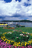 ME, Bar Harbor, Maine, Mount Desert Island, Scenic view of Frenchman Bay from Bar Harbor Inn in Bar Harbor on the Atlantic Ocean.