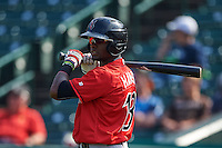 Indianapolis Indians second baseman Alen Hanson (13) on deck during a game against the Rochester Red Wings on June 10, 2015 at Frontier Field in Rochester, New York.  Indianapolis defeated Rochester 5-3.  (Mike Janes/Four Seam Images)