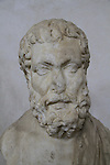 Bust of a philosopher from Samaria, Roman period, 1st century AD, marble, on display at the Rockefeller Museum