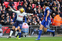 Christian Eriksen of Tottenham Hotspur and Harry Maguire of Leicester City during Tottenham Hotspur vs Leicester City, Premier League Football at Wembley Stadium on 10th February 2019