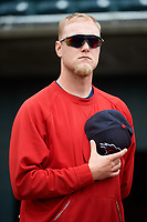 New Hampshire Fisher Cats pitcher Jon Harris (18) stands for the national anthem before the first game of a doubleheader against the Harrisburg Senators on May 13, 2018 at FNB Field in Harrisburg, Pennsylvania.  New Hampshire defeated Harrisburg 6-1.  (Mike Janes/Four Seam Images)