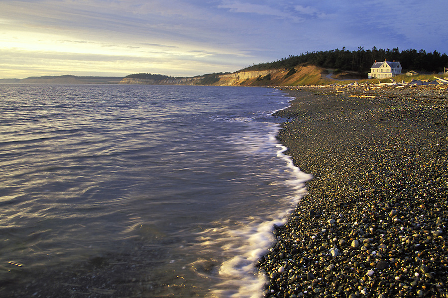 Waves washing over pebbles on beach, Fort Casey State Park, Ebey's Landing National Historic Reserve, Coupeville, Washington
