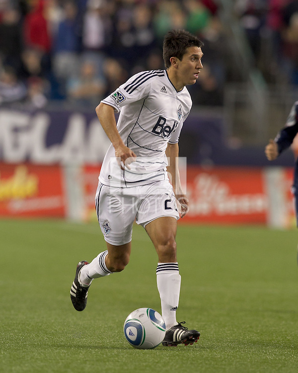 Vancouver Whitecaps FC midfielder Shea Salinas (22) looks to pass. In a Major League Soccer (MLS) match, the New England Revolution defeated the Vancouver Whitecaps FC, 1-0, at Gillette Stadium on May14, 2011.