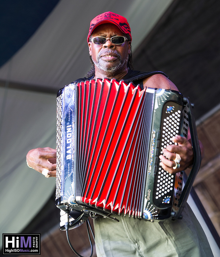 C. J. Chenier performs at the 2014 Jazz and Heritage Festival in New Orleans, LA.