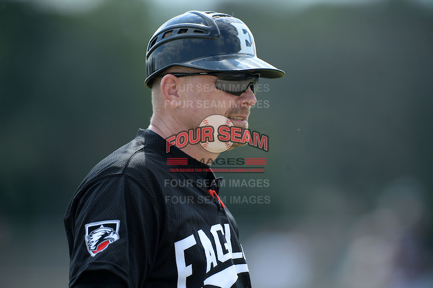 Edgewood Eagles head coach Al Brisack during the first game of a doubleheader against the Defiance Yellow Jackets at the Terry Park Sports Complex on March 11, 2014 in Fort Myers, Florida.  Defiance defeated Edgewood 4-3.  (Mike Janes/Four Seam Images)