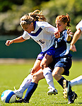 2 September 2007: University of Central Arkansas Sugar Bears' Kelsey Weisgram (left), a Sophomore from Rapid City, SD, battles University of New Hampshire Wildcats' Deanna Maccario, a Freshman from North Reading, MA, at Historic Centennial Field in Burlington, Vermont. The Wilcats shut out the Sugar Bears 3-0 during the TD Banknorth Soccer Classic...Mandatory Photo Credit: Ed Wolfstein Photo