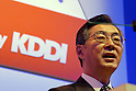 Tadashi Onodera, President and Chairman of KDDI, attends its mobile carrier service au's press conference to introduce new mobile handsets for the spring season. 19 January, 2009. (Taro Fujimoto/JapanToday/Nippon News) TOKYO --<br /> <br /> Mobile carrier KDDI au on Thursday unveiled 12 new mobile handsets for the spring season. The new handsets are made by Sony Ericsson, Hitachi, Toshiba, Casio, Sharp, Panasonic, Kyocera for consumers and HCT for corporate users.