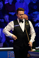 29th February 2020; Waterfront, Southport, Merseyside, England; World Snooker Championship, Coral Players Championship; Shaun Murphy (ENG) lines up his next shot during tonight's semi final match versus Yan Bingtao (CHN)