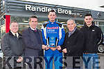 Radio Kerry sporets star of the month Rob Duggan gets his award from David Randles and wheeshie Fogarty on Tuesday