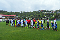Players shake hands before the 2019 OFC Champions League quarter final football match between Team Wellington and Henderson Eels at David Farrington Park in Wellington on Sunday, 7 April 2019. Photo: Dave Lintott / lintottphoto.co.nz