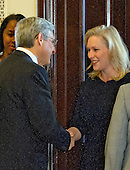 United States Senator Kirsten Gillibrand (Democrat of New York), right, welcomes Judge Merrick Garland, chief justice for the US Court of Appeals for the District of Columbia Circuit, left, who is US President Barack Obama's selection to replace the late Associate Justice Antonin Scalia on the US Supreme Court, as the Judge arrives for a photo op on Capitol Hill in Washington, DC on Wednesday, March 30, 2016.  <br /> Credit: Ron Sachs / CNP
