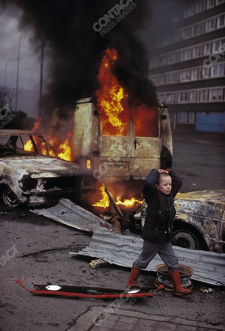 Aftermath of an anti-British riot. West Belfast, Northern Ireland, UK, March 1988