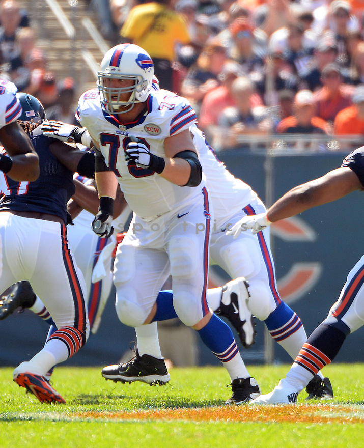Buffalo Bills Erik Pears (79) during a game against the Chicago Bears on September 7, 2014 at Soldier Field in Chicago, IL. The Bills beat the Bears 23-20.