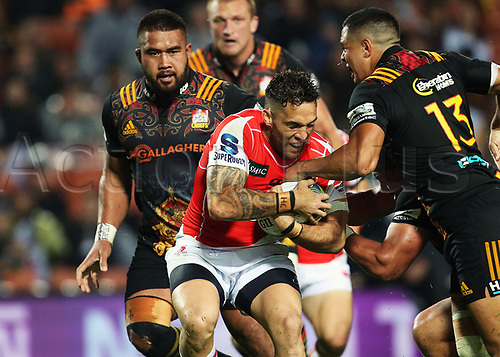 April 29th 2017, FMG Stadium Waikato, Hamilton, New Zealand; Super Rugby; Chiefs versus Sunwolves;  Sunwolves second five Derek Carpenter in action during the Super Rugby rugby match