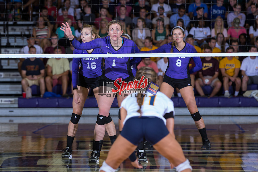 Katie Vincent (1), Chelsea Davis (16) and Gabi Mirand (8) during the match against the UNC Greensboro Spartans at Millis Athletic Center on September 16, 2014 in High Point, North Carolina.  The Panthers defeated the Spartans 3-0.   (Brian Westerholt/Sports On Film)