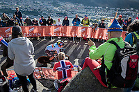 Yves Lampaert (BEL/Quick Step Floors) finishing on top of Mount Fløyen<br /> <br /> Men Elite Individual Time Trial<br /> <br /> UCI 2017 Road World Championships - Bergen/Norway