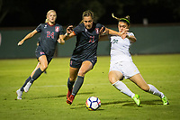 STANFORD, CA - August 24, 2018: Jordan DiBiasi, Abby Greubel at Laird Q. Cagan Stadium. The Stanford Cardinal defeated the USF Dons 5-1.