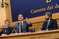 Roma, 21 Aprile 2016<br /> Il Movimento 5 Stelle presenta alla Camera dei deputati il Programma Energia.<br /> I portavoce del Senato e della Camera Gianni Girotto, Andrea Cioffi, Roberto Fico.<br /> <br /> Gianni Girotto, Andrea Cioffi, Robert Fico,<br /> The Movement 5 Star  presents at the Chamber of Deputies The Energy Program, on April 21, 2016, in Rome, Italy