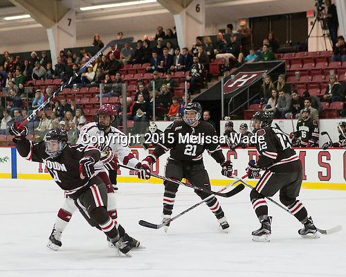 Max Gottlieb (Brown - 11), Luke Esposito (Harvard - 9), Davey Middleton (Brown - 21), Josh McArdle (Brown - 12) - The Harvard University Crimson defeated the visiting Brown University Brown Bears 5-2 (EN) on Saturday, November 7, 2015, at Bright-Landry Center in Boston, Massachusetts.