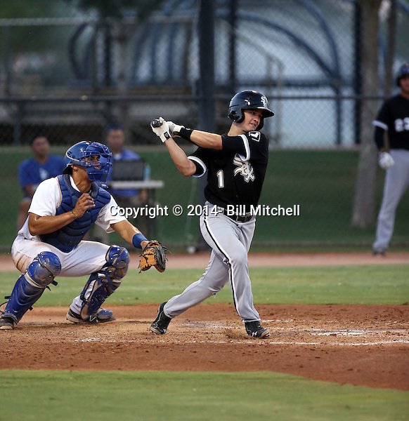 Eddy Alvarez plays for the 2014 AZL White Sox in an Arizona League game against the AZL Dodgers at Camelback Ranch on June 28, 2014 in Glendale, Arizona. Alvarez was a silver medalist as a speed skater in the 2014 Winter Olympics in Sochi, Russia before signing with the White Sox as a non-drafted free agent  (Bill Mitchell)