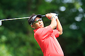 Thongchai JAIDEE (THA) tees off on the 2nd hole  during the final round of the 2015 BMW PGA Championship over the West Course at Wentworth, Virgina Water, London. 24/05/2015<br /> Picture Fran Caffrey, www.golffile.ie